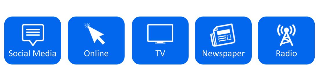 TV, Social media, radio, newspaper, online news